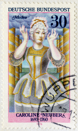 macbeth: GERMANY- CIRCA 1976: A stamp printed in Germany shows Friederike Caroline Neuber, also called Die Neuberin (1697-1760) as Medea, series German Actresses, circa 1976