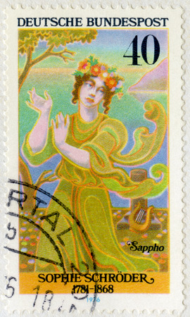 macbeth: GERMANY- CIRCA 1976: A stamp printed in Germany shows Sophie Antonie Luise Schroder (1781-1868) as Sappho, series German Actresses, circa 1976