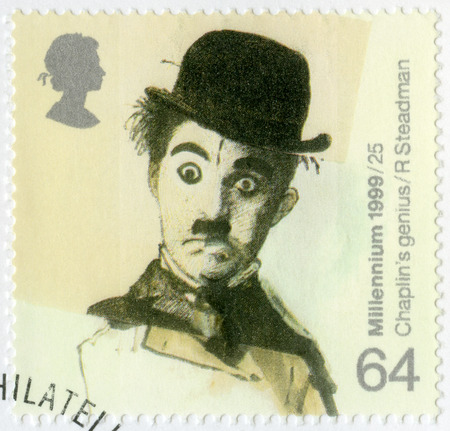 chaplin: GREAT BRITAIN - CIRCA 1999: A stamp printed in Great Britain shows portrait of Charlie Chaplin (1889-1977), series British Achievements During Past 1000 Years, Entertainment and sports, circa 1999