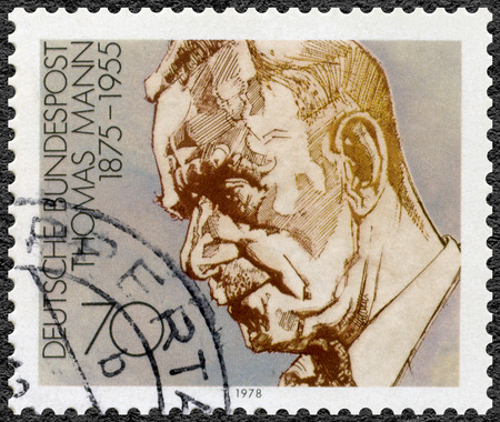 thomas: GEMANY - CIRCA 1978: A stamp printed in Germany shows Paul Thomas Mann (1875-1955), dramatist and novelist, series German winners of Nobel Literature Prize, circa 1978