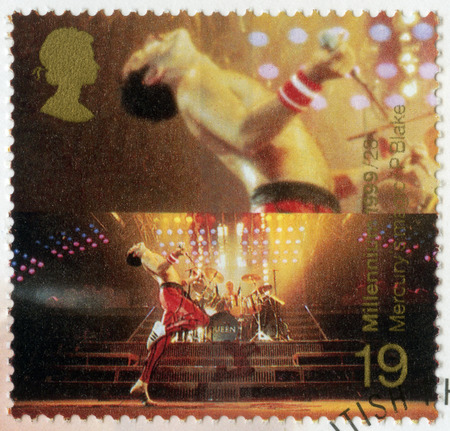 old mercury: GREAT BRITAIN - CIRCA 1999: A stamp printed in Great Britain shows Freddie Mercury (1946-1991), lead singer of Queen, series British Achievements During Past 1000 Years, Entertainment and sports, circa 1999
