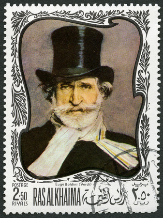 ras: UAE - CIRCA 1969: A stamp printed in Ras al-Khaimah United Arab Emirates UAE shows Giuseppe Verdi (1813-1901), Italian composer, circa 1969