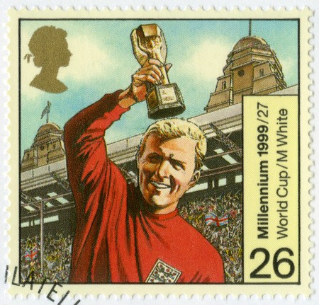 bobby: GREAT BRITAIN - CIRCA 1999: A stamp printed in Great Britain shows Robert Frederick Chelsea Bobby Moore (1941-1993), 1966 World Cup Soccer Champions, series British Achievements During Past 1000 Years, Entertainment and sports, circa 1999 Editorial