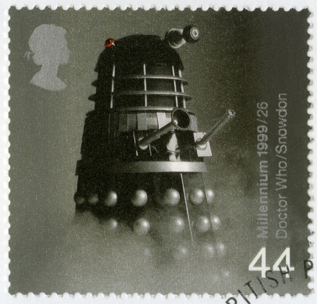 who: GREAT BRITAIN - CIRCA 1999: A stamp printed in Great Britain shows Dalek from Doctor Who television series, series British Achievements During Past 1000 Years, Entertainment and sports, circa 1999
