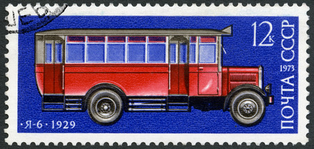 postmarked: USSR - CIRCA 1973: A stamp printed in USSR shows Ya-6 autobus, 1929, Development of Russian automotive industry, circa 1973