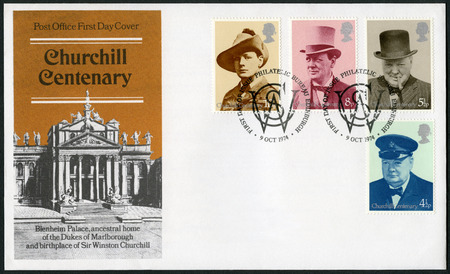 spencer: UNITED KINGDOM - CIRCA 1974: A stamp printed by United Kingdom shows Sir Winston Spencer Churchill (1874-1965), with hat, politician, circa 1974