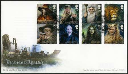 realms: GREAT BRITAIN - CIRCA 2011: A stamp printed in Great Britain shows series Magical Realms, circa 2011 Editorial