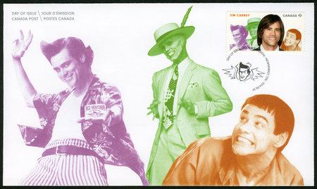 screenwriter: CANADA - CIRCA 2014: A stamp printed in Canada shows James Eugene Jim Carrey (born 1962), actor, series Great Canadian Comedians, circa 2014