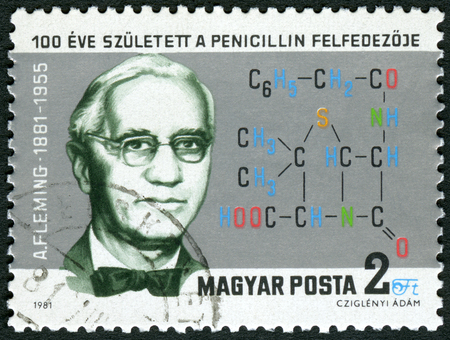 descubridor: Hungría - alrededor de 1981: Un sello impreso en Hungría muestra a Sir Alexander Fleming (1881-1955), descubridor de la penicilina, alrededor de 1981 Editorial
