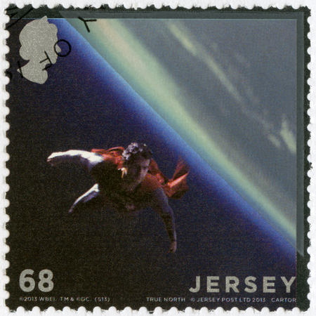 JERSEY - CIRCA 2013: A stamp printed in Jersey shows Man of Steel, circa 2013 Editorial