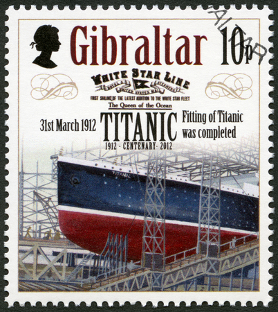 harland: GIBRALTAR - CIRCA 2012: A stamp printed in Gibraltar shows Fitting of Titanic was comleted, 31st march 1912, series Titanic Centenary 1912-2012, circa 2012 Editorial