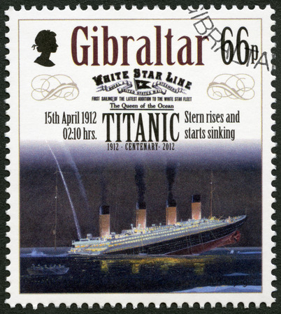 harland: GIBRALTAR - CIRCA 2012: A stamp printed in Gibraltar shows Stern rises and starts sinking, 15th april 1912, series Titanic Centenary 1912-2012, circa 2012