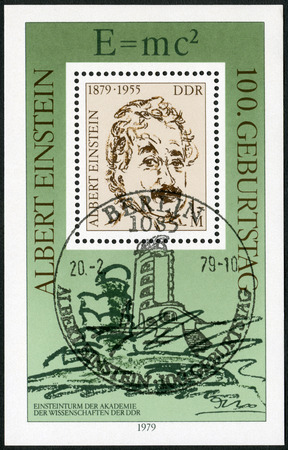 physicist: GERMAN DEMOCRATIC REPUBLIC - CIRCA 1979: A stamp printed in GDR shows Albert Einstein (1879-1955), physicist, The 100th Anniversary, circa 1979
