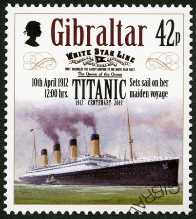 price hit: GIBRALTAR - CIRCA 2012: A stamp printed in Gibraltar shows Set sail on her maiden voyage, 10th april 1912, series Titanic Centenary 1912-2012, circa 2012 Editorial