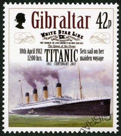 GIBRALTAR - CIRCA 2012: A stamp printed in Gibraltar shows Set sail on her maiden voyage, 10th april 1912, series Titanic Centenary 1912-2012, circa 2012 Editorial