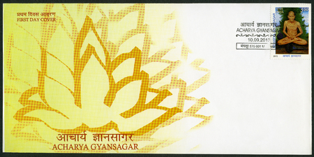 indian postal stamp: INDIA - CIRCA 2013: A stamp printed in India shows Acharya Jnansagar or Gyansagar, circa 2013