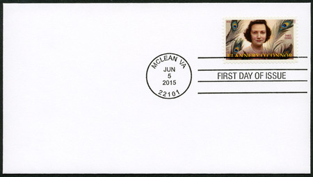 essayist: UNITED STATES OF AMERICA - CIRCA 2015: A stamp printed in USA shows Mary Flannery OConnor (1925-1964), American writer and essayist, circa 2015 Editorial