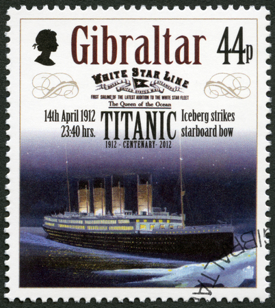 starboard: GIBRALTAR - CIRCA 2012: A stamp printed in Gibraltar shows Iceberg strikes starboard bow, 14th april 1912, series Titanic Centenary 1912-2012, circa 2012 Editorial