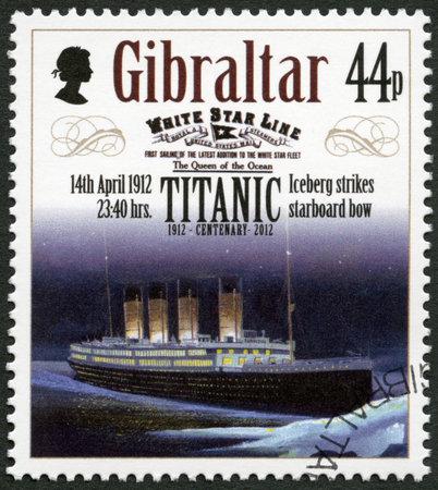 harland: GIBRALTAR - CIRCA 2012: A stamp printed in Gibraltar shows Iceberg strikes starboard bow, 14th april 1912, series Titanic Centenary 1912-2012, circa 2012 Editorial