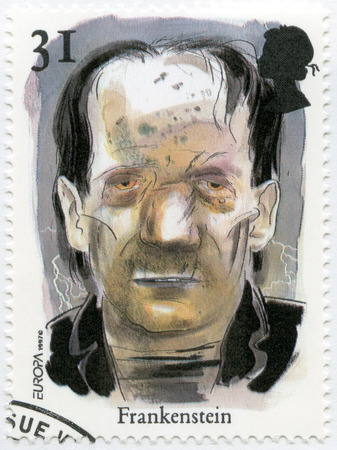 UNITED KINGDOM - CIRCA 1997: A stamp printed in United Kingdom shows The Frankenstein Monster, series Stories and Legends, circa 1997 Editorial