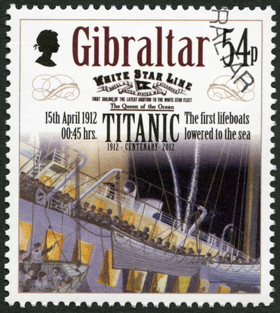 harland: GIBRALTAR - CIRCA 2012: A stamp printed in Gibraltar shows The first lifeboats lowered to the sea, 15th april 1912, series Titanic Centenary 1912-2012, circa 2012 Editorial