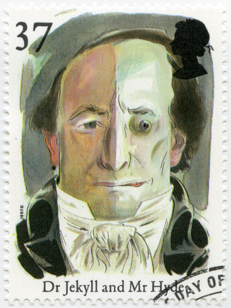 dr: UNITED KINGDOM - CIRCA 1997: A stamp printed in United Kingdom shows Dr. Jekyll and Mr. Hyde, series Stories and Legends, circa 1997
