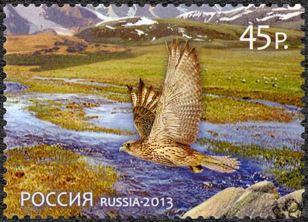 world natural heritage: RUSSIA - CIRCA 2013: A stamp printed in Russia shows World Natural Heritage of Russia, Republic of Tyva, Uvs Nuur Basin, circa 2013 Editorial