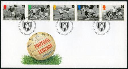 legends: UNITED KINGDOM - CIRCA 1996: A stamp printed in United Kingdom shows series football legends, circa 1996 Editorial