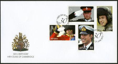 arthur: JERSEY - CIRCA 2012: A stamp printed in Jersey shows William Arthur Philip Louis, Prince William, Duke of Cambridge, 30th Birthday, circa 2012