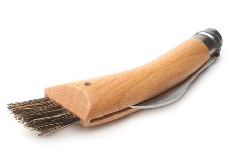 clasp knife: Clasp knife with brush for mushroomon on white background Stock Photo