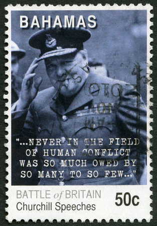 a war historian: BAHAMAS - CIRCA 2010: A stamp printed in Bahamas shows Sir Winston Leonard Spencer Churchilll (1874-1965), 70th anniversary of the Battle of Britain, Churchill Speeches, circa 2010