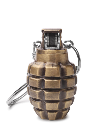 drab: Lighter in the form of a hand grenade on white background