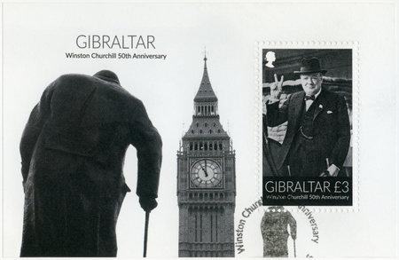 spencer: GIBRALTAR - CIRCA 2015: A stamp printed in Gibraltar shows Sir Winston Spencer Churchill (1874-1965), 50th anniversary, politician, circa 2015 Editorial