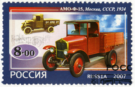 motorcars: RUSSIA - CIRCA 2007: A stamp printed in Russia shows AMO-F15 truck, 1924, series the history of Russian motor-cars, the first native trucks, circa 2007 Editorial