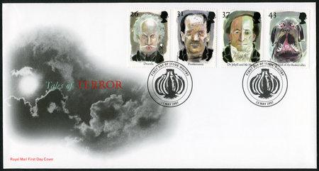 legends: UNITED KINGDOM - CIRCA 1997: A stamp printed in United Kingdom shows series Stories and Legends, circa 1997
