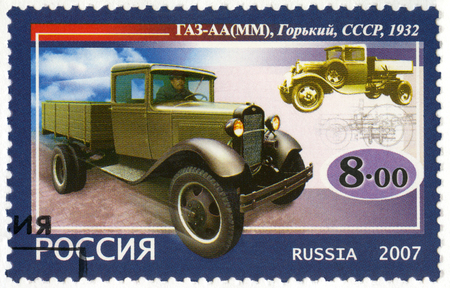 motorcars: RUSSIA - CIRCA 2007: A stamp printed in Russia shows GAZ-AA, MM, series the history of Russian motor-cars, the first native trucks, circa 2007