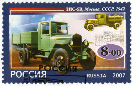 motorcars: RUSSIA - CIRCA 2007: A stamp printed in Russia shows Soviet truck ZIS-5V, 1942, series the history of Russian motor-cars, the first native trucks, circa 2007 Editorial