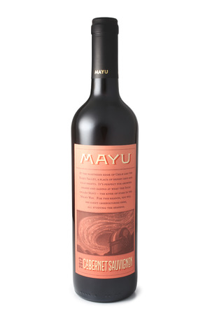 cabernet: ST. PETERSBURG, RUSSIA - April 30, 2016: Bottle of Mayu Cabernet Sauvignon, Elqui Valley, Chile, 2013