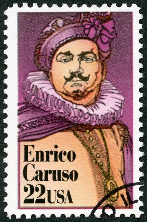 postmarked: UNITED STATES Of AMERICA - CIRCA 1987: A stamp printed in USA shows Enrico Caruso (1873-1921), Italian operatic tenor, circa 1987
