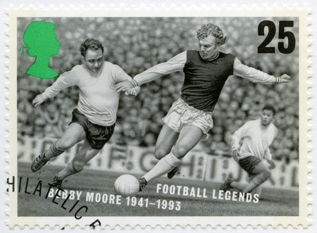 bobby: UNITED KINGDOM - CIRCA 1996: A stamp printed in United Kingdom shows Robert Frederick Chelsea Bobby Moore (1941-1993), series football legends, circa 1996