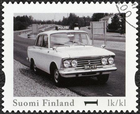 elite: FINLAND - CIRCA 2013: A stamp printed in Finland shows Moskvitsh Elite, series Finland Official Vintage Police Car, circa 2013 Editorial