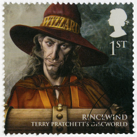 realms: GREAT BRITAIN - CIRCA 2011: A stamp printed in Great Britain shows portrait of Rincewind, series Magical Realms, circa 2011