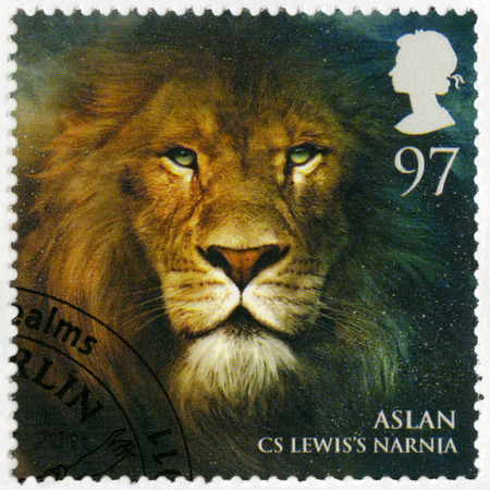 GREAT BRITAIN - CIRCA 2011: A stamp printed in Great Britain shows portrait of Aslan, Narnia, series Magical Realms, circa 2011 Editorial
