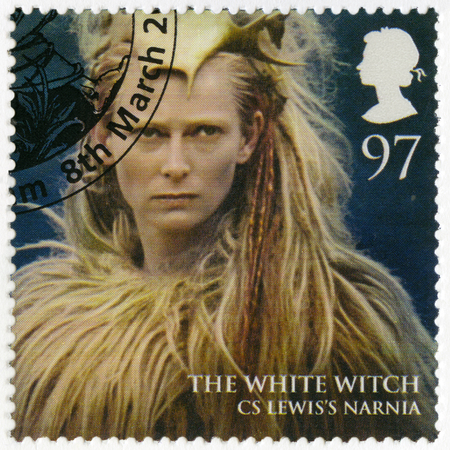 realms: GREAT BRITAIN - CIRCA 2011: A stamp printed in Great Britain shows portrait of The White Witch, Narnia, series Magical Realms, circa 2011 Editorial