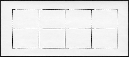 blanked: Blank postage stamp block souvenir sheet on black background