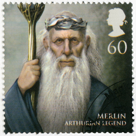 realms: GREAT BRITAIN - CIRCA 2011: A stamp printed in Great Britain shows portrait of Merlin, Arthurian legend, series Magical Realms, circa 2011