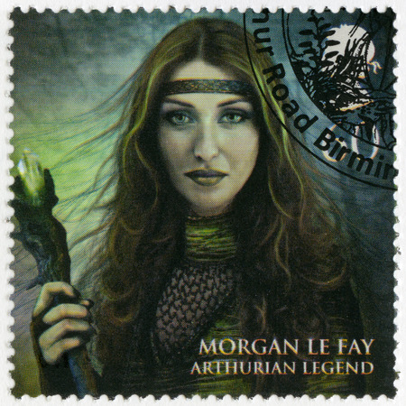 realms: GREAT BRITAIN - CIRCA 2011: A stamp printed in Great Britain shows portrait of Morgan Le Fay, Arthurian legend, series Magical Realms, circa 2011