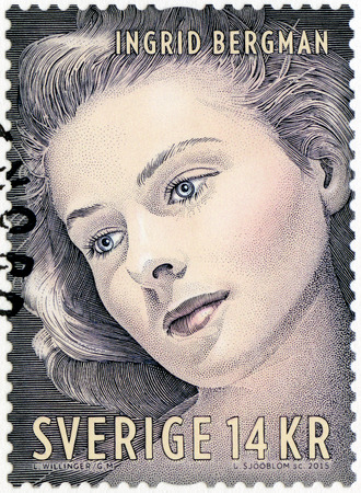 postmarked: SWEDEN - CIRCA 1992: A stamp printed in Sweden shows Ingrid Bergman (1915-1982), actress, circa 2015