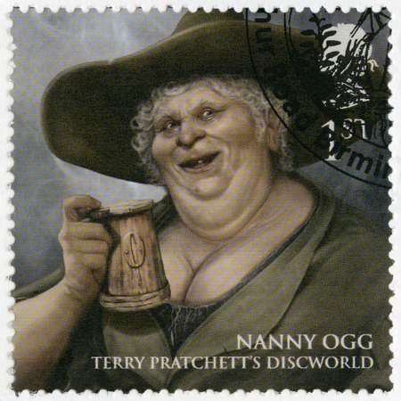 GREAT BRITAIN - CIRCA 2011: A stamp printed in Great Britain shows portrait of Nanny Gytha Ogg, series Magical Realms, circa 2011 Editorial