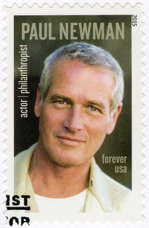 philanthropist: UNITED STATES OF AMERICA - CIRCA 2015: A stamp printed in USA shows Paul Leonard Newman (1925-2008), philanthropist and actor, circa 2015